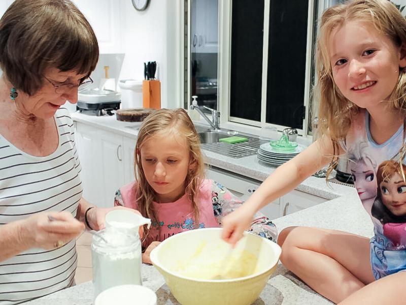 Mixing cake ingredients by hand