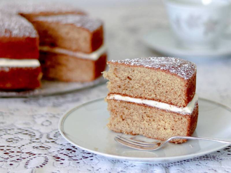 Cut and serve the two-layered Ginger Sponge.