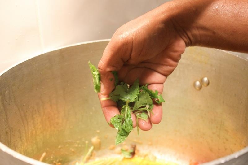 Add the chopped herbs.
