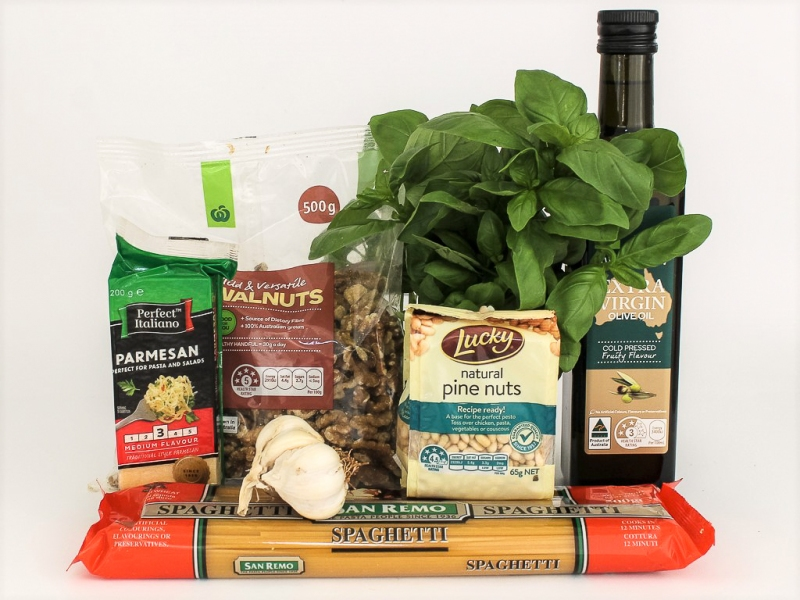 Collect spaghetti and pesto ingredients.