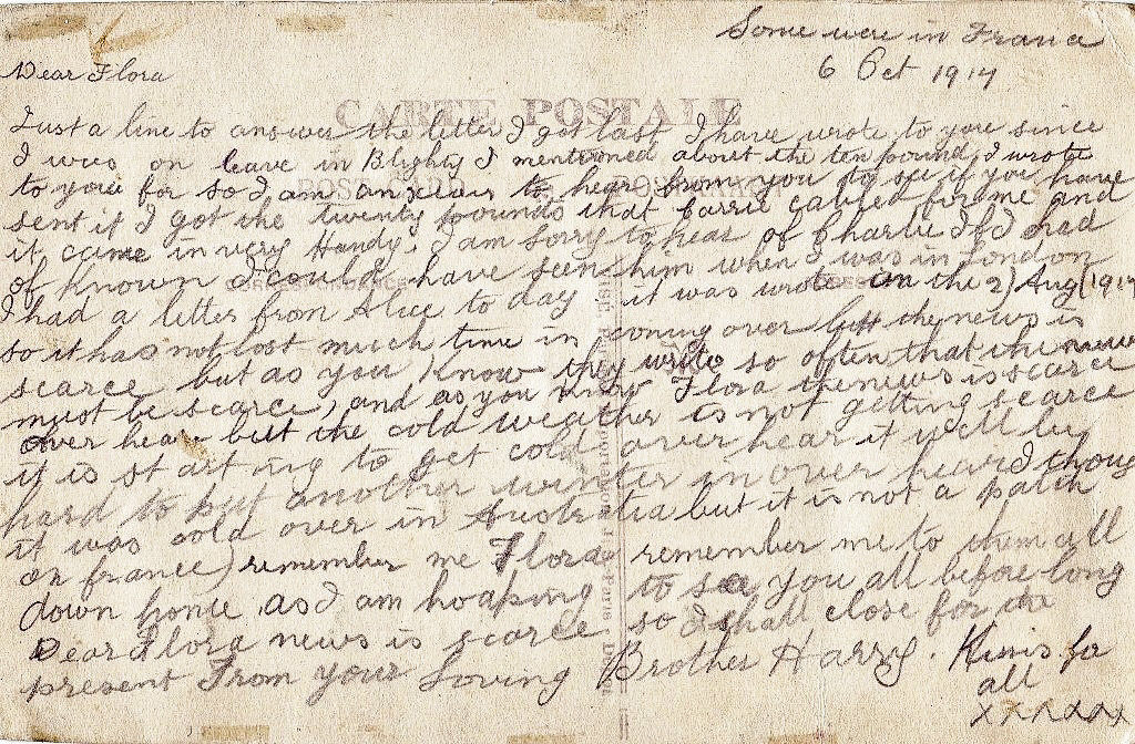 The oldest and most precious of the postcards from Henry to Flora.
