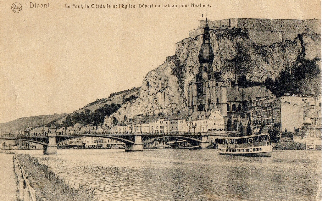 1918, 30 December. Harry's postcard to Flora from Dinant, Belgium.