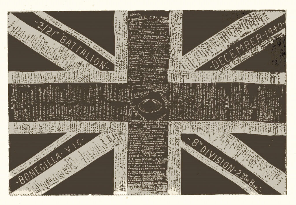 Union Jack signed by those who attended the Bonegilla Army Training Camp, December 1940. Photo source: Proposch Family archives.
