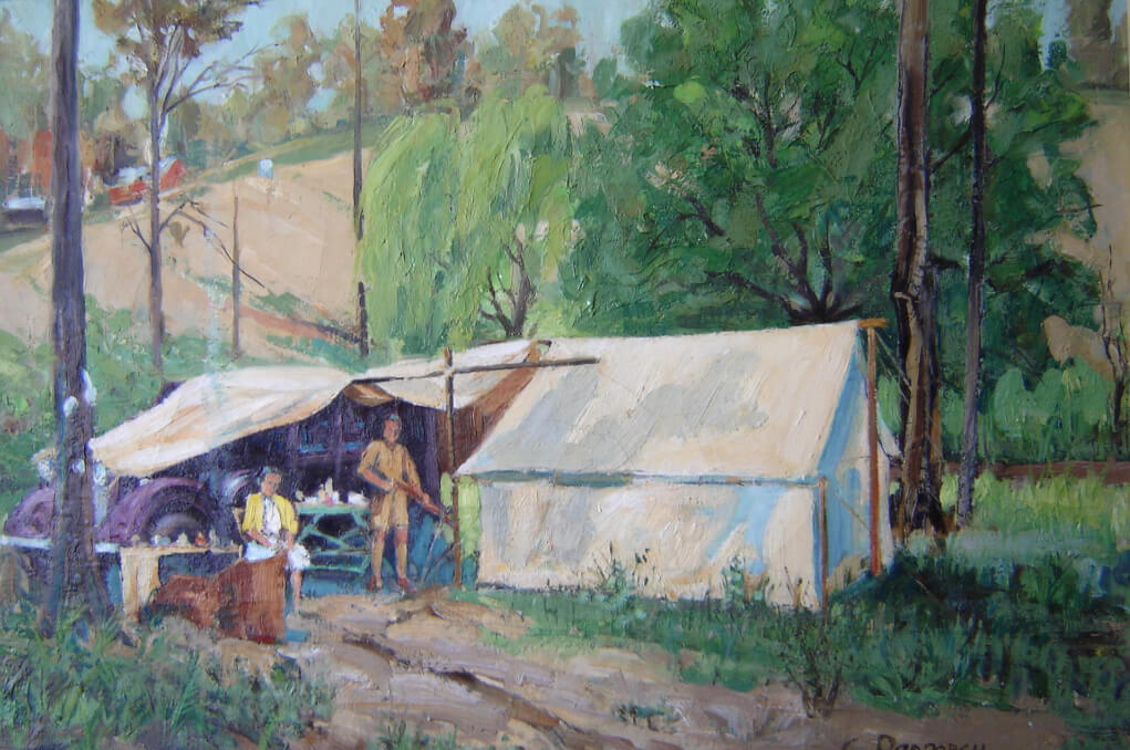 Elsie and son, camping near Melbourne, Victoria: Oil painting by Charles Proposch, 1940s.