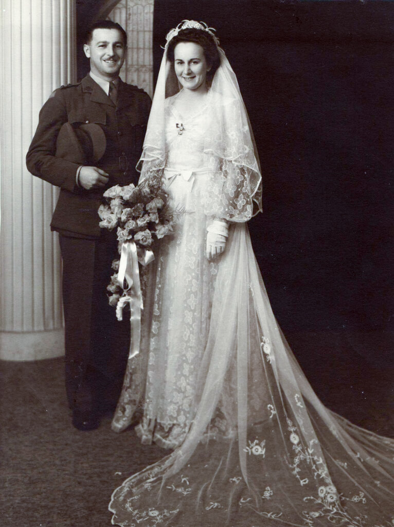 Bill and Evelyn on their wedding day, March 1945. Photo source: Proposch Family archives.