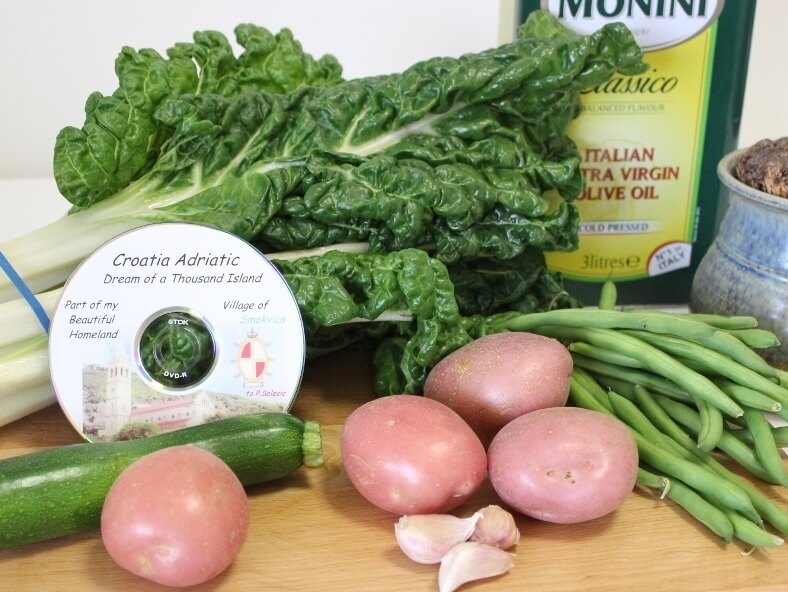 Ingredients for Zeje, a traditional Dalmatian dish of silverbeet and potatoes