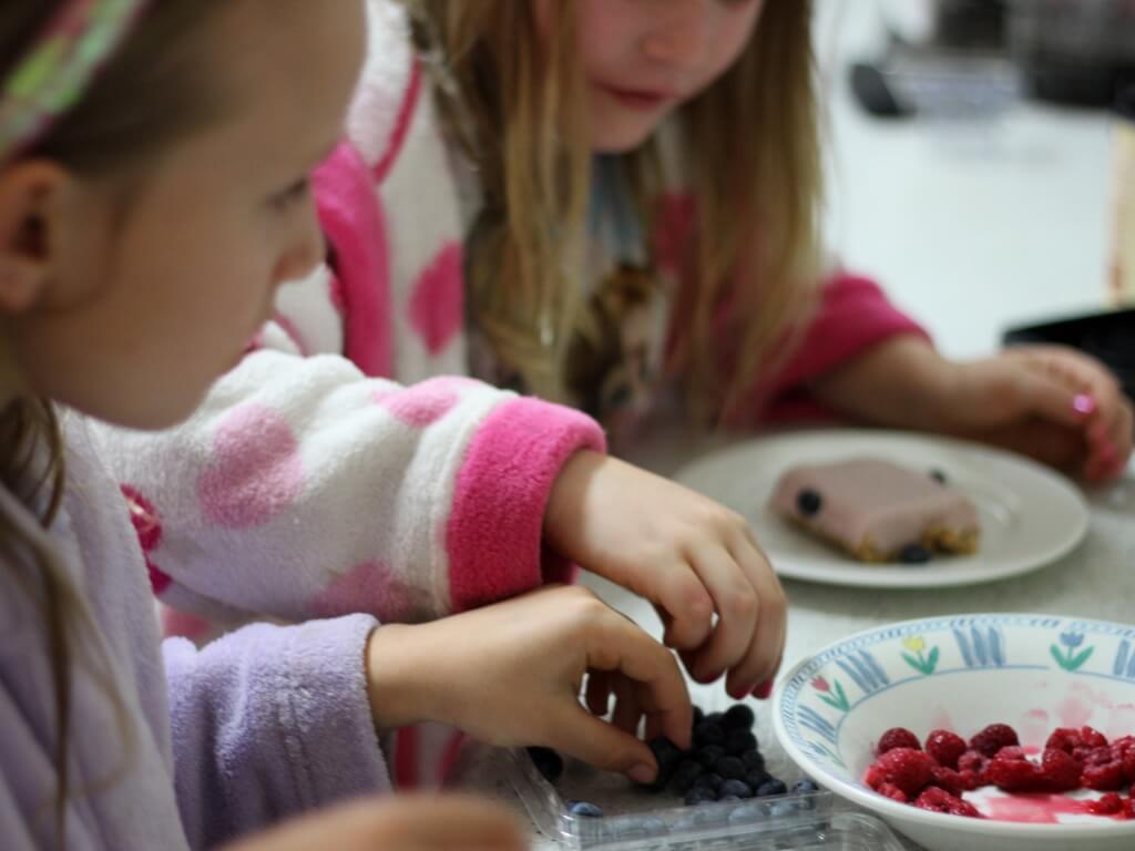 The children helping to prepare dessert. Photo source: Judith Salecich.