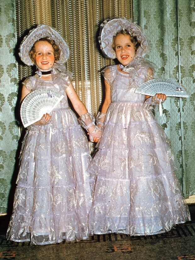 Judy (right) and I in fancy dress as Two Old World Ladies