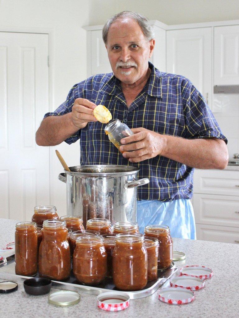 Tony bottles his freshly made chutney. Photo source: Judith Salecich 2018.
