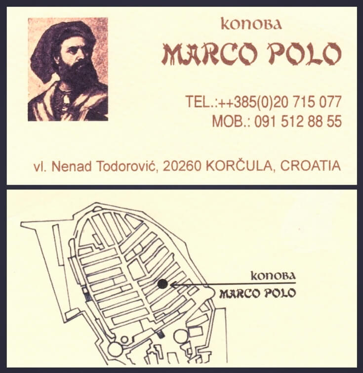 Konoba Marco Polo card, front and back