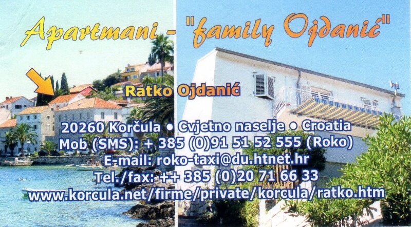 Ojdanić Family Apartments, Korčula