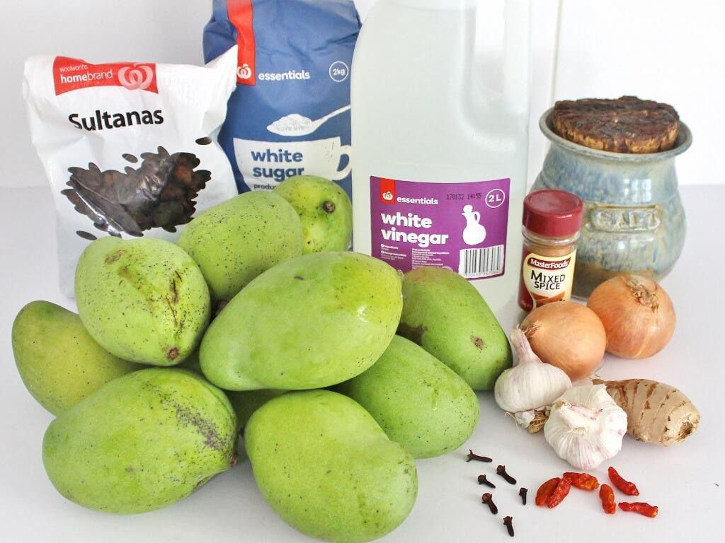 Tony's mango chutney ingredients. Photo source: Judith Salecich 2016.