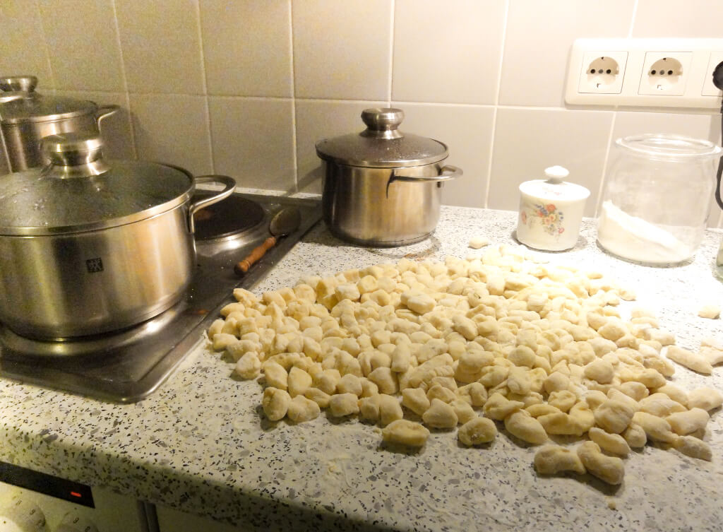 Our son's homemade gnocchi. Photo source: Judith Salecich 2004.