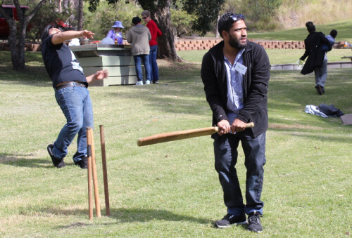 Mohamed playing cricket