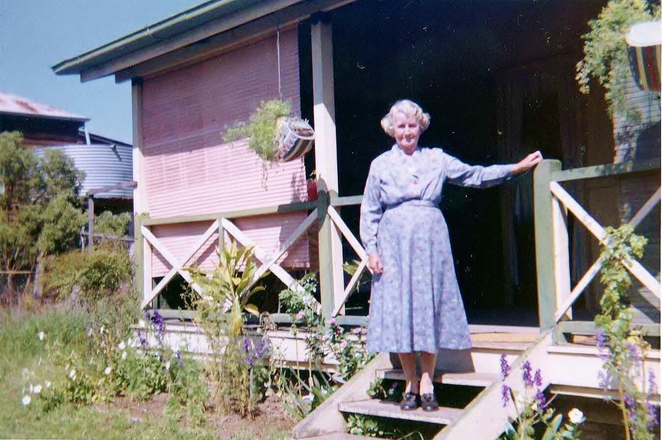 1962: Nan on the steps of the Rannes cottage