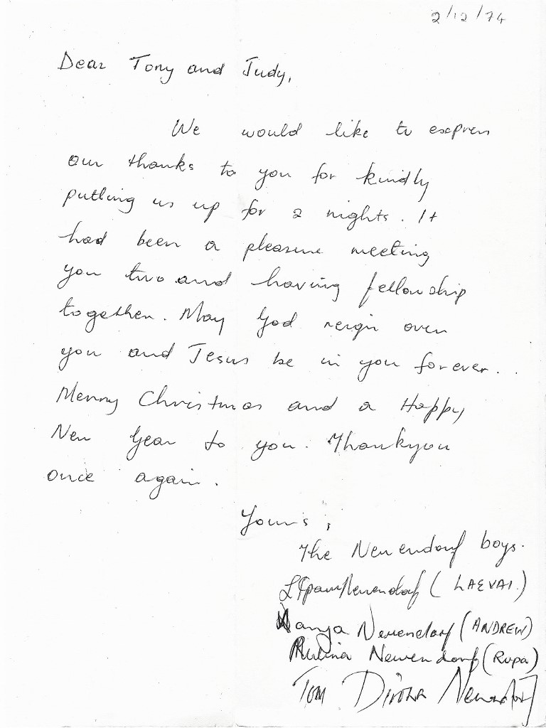 1974 December. PNG Thank you card, inside