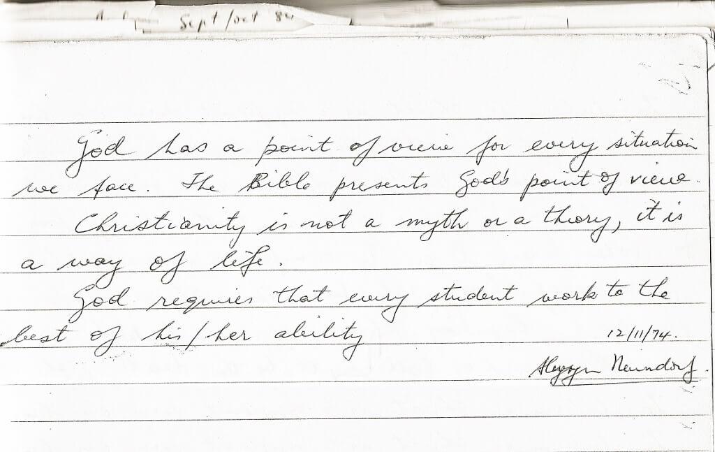 1974, November, Neuendorf quote