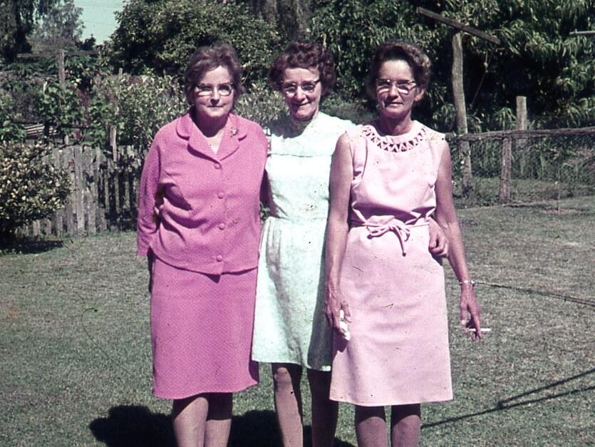 Dulcie (right), my mum and Dulcie's sister