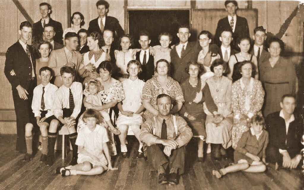 1930s: Group at dance, Rannes Hall. Photo source: Beaumont Family archives.