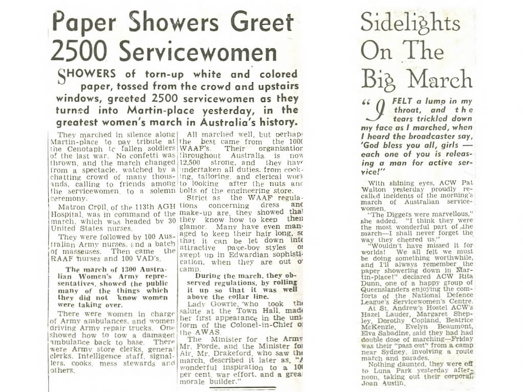 1942 October 17, Newspaper reports on the Big March, Sydney.