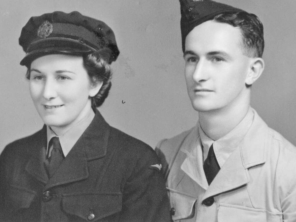 1943: Evelyn with brother Allan soon after he joined the RAAF. Photo source: Proposch Family archives.