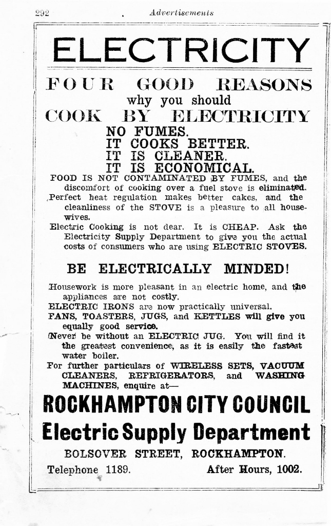 1934 Advertisement for electric cooking.