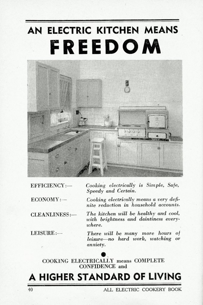 1949 Advertisement for an electric kitchen.