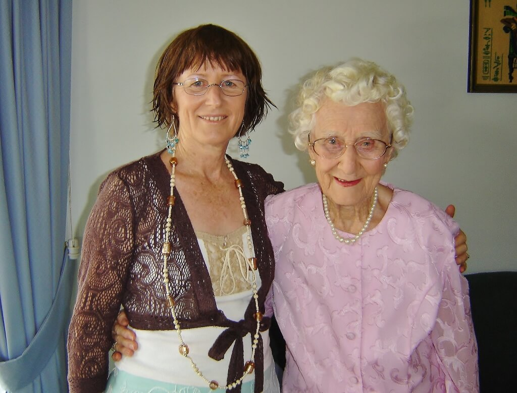 2006. With Evelyn on her 90th birthday. Photo source: Salecich Family archives.