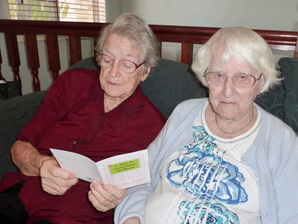 2010: May 9, Mother's Day. Evelyn with extended family member Joyce Brown. Photo source: Judith Salecich 2010.