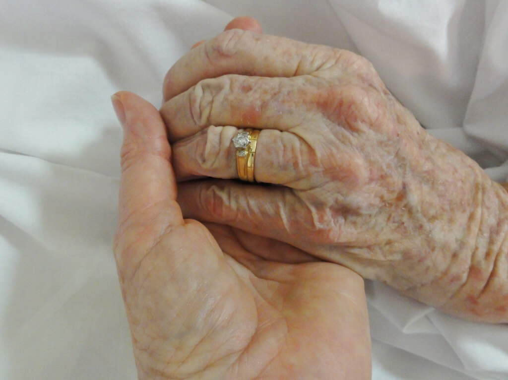 January 30, 2011, Evelyn's hand in mine. Photo source: Tony Salecich 2011.