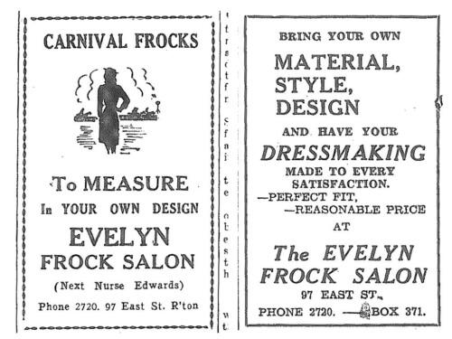 1947 & 1948: Evelyn Frock Salon advertisements, Morning Bulletin (.Rockhampton)