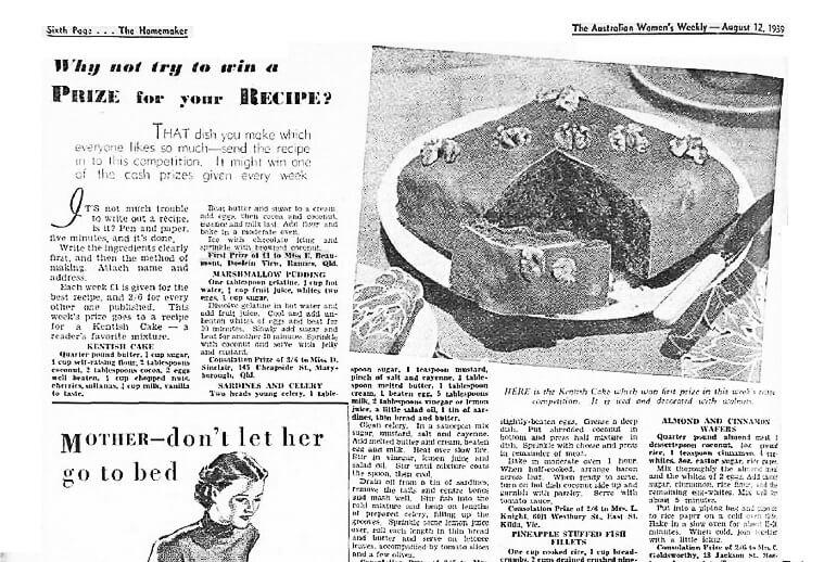 Evelyn's first prize Kentish cake - The Australian Women's Weekly 1939.