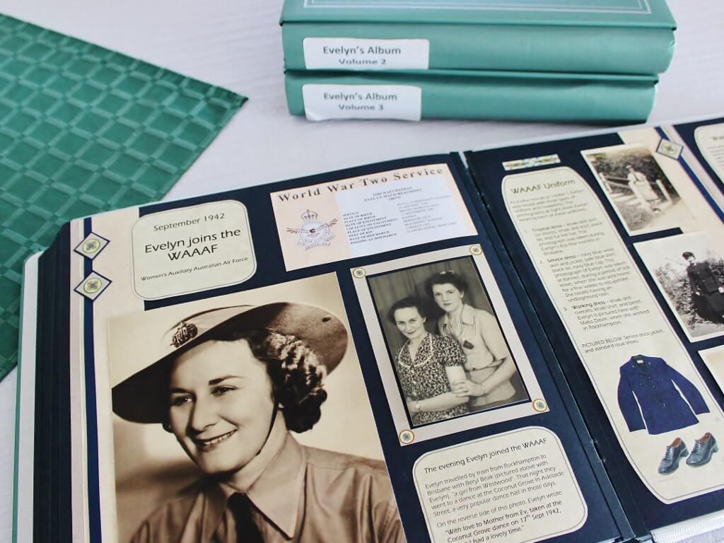 Evelyn's lifestory as photo scrapbooks. Photo source: Judith Salecich 2016.