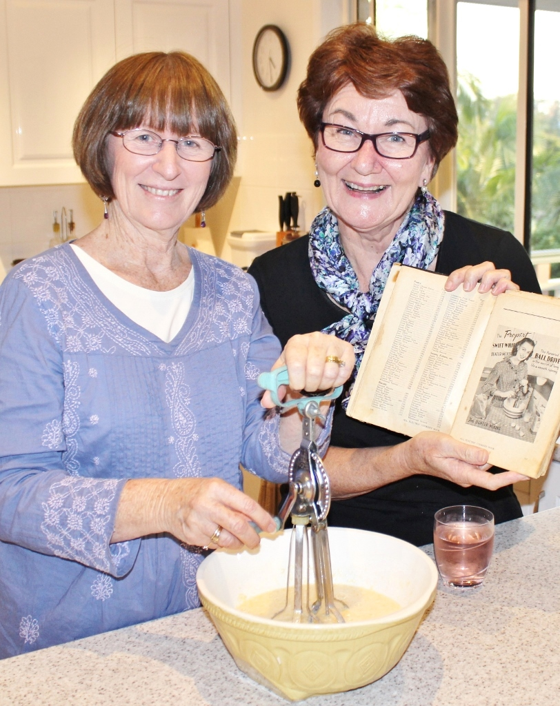 Using Evelyn's vintage Propert Swift-Whip beater-mixer. Photo source: Tony Salecich 2016.