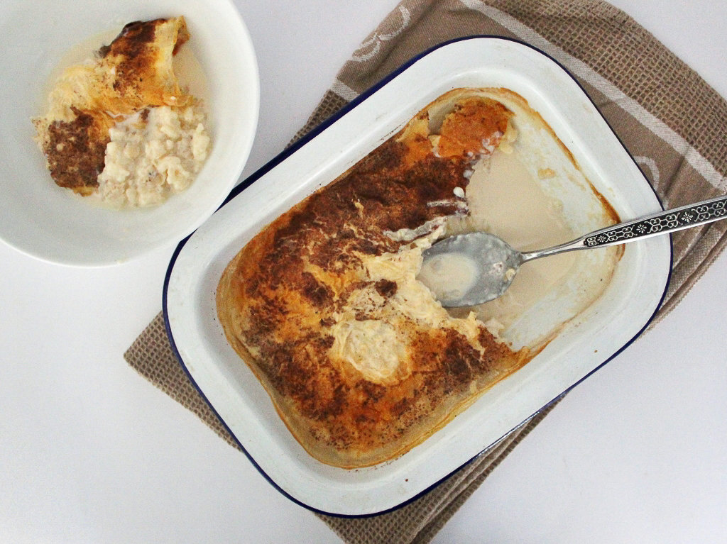 Nan's Baked Rice Pudding served. Photo source: Judith Salecich 2016.