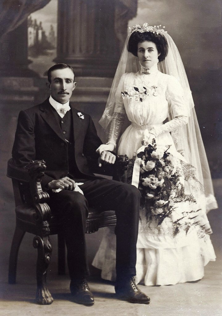 1911. Donald and Flora Beaumont, my grandparents, on their wedding day. Photo source: Beaumont family archives.