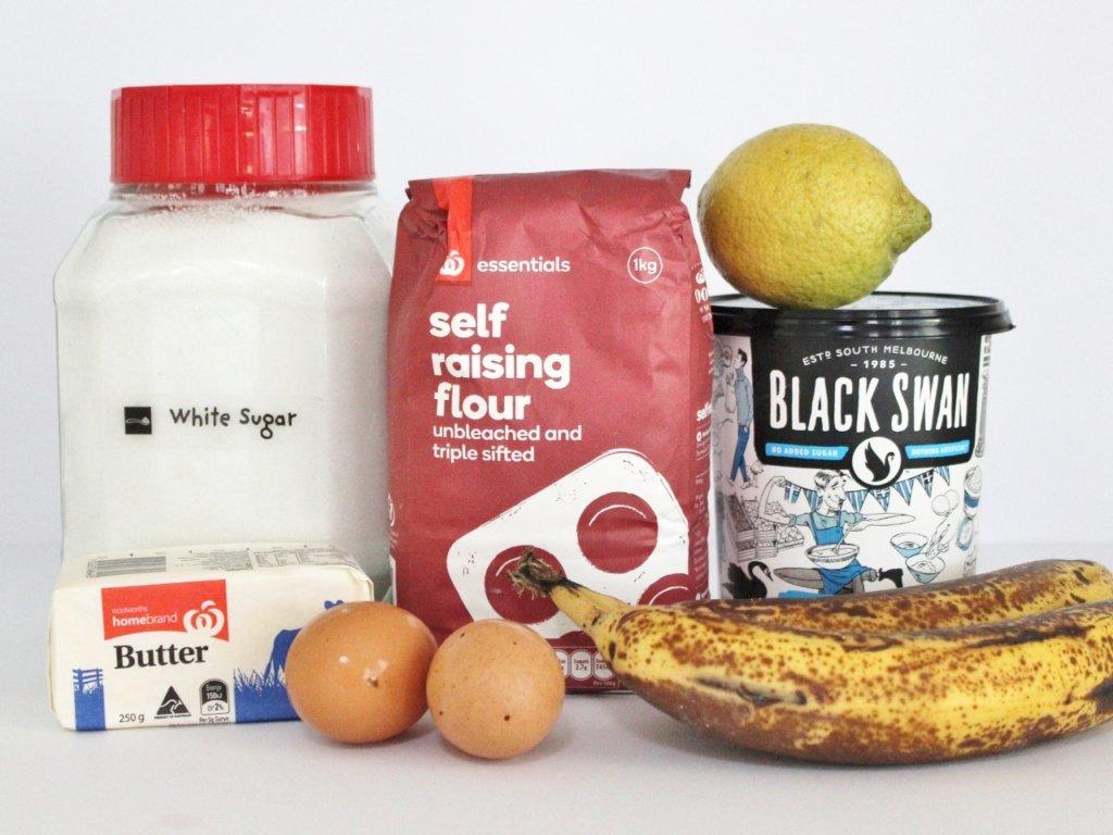 Banana Yoghurt Cake ingredients. Photo source: Judith Salecich 2016.