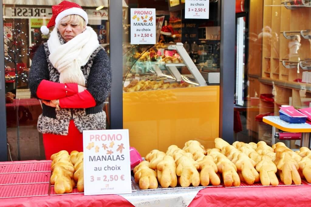 Manalas on sale at the Christmas markets, Colmar, France. Photo source: Judith Salecich 2015.