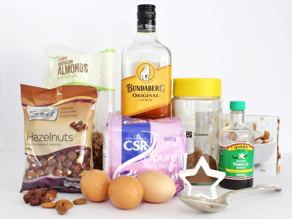 The ingredients you will need to make Zimtsterne. Photo source: Judith Salecich 2017.
