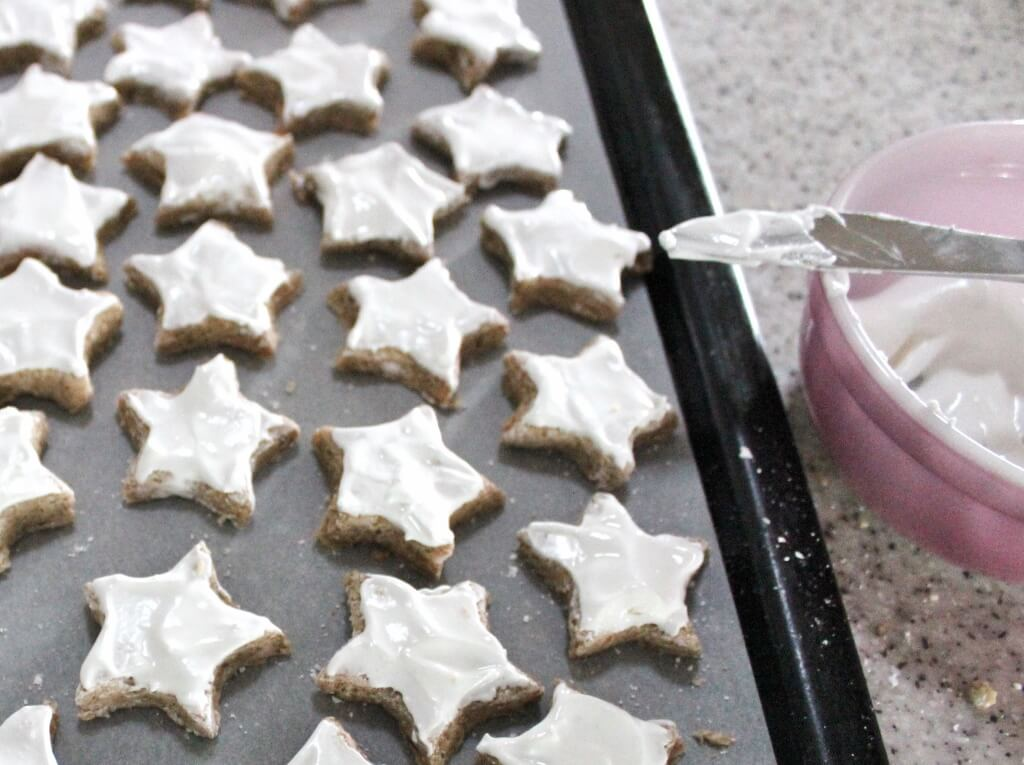 """The stars covered in """"snow"""" prior to baking. Photo source: Judith Salecich 2017."""