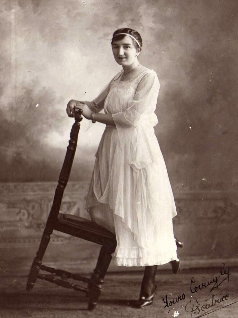 c.1921, Rannes. Beatrice (Beattie) Beaumont, aged 21.