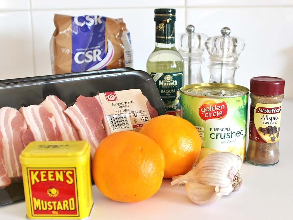 Ingredients for Fruity Baked Pork Rashers. Photo source: Judith Salecich 2017.
