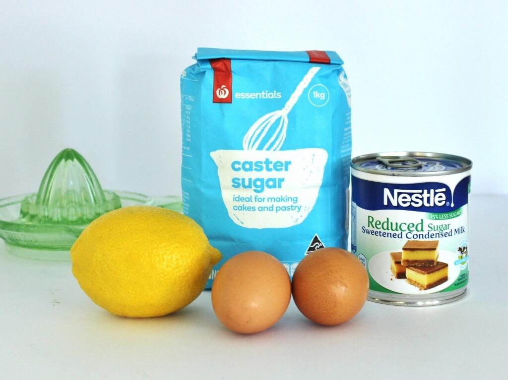 Lemon filling and meringue ingredients. Photo source: Judith Salecich 2017.