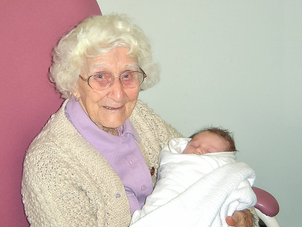 Grandma proudly nursing my firstborn, a son. Photo source: Judith Salecich 2006.