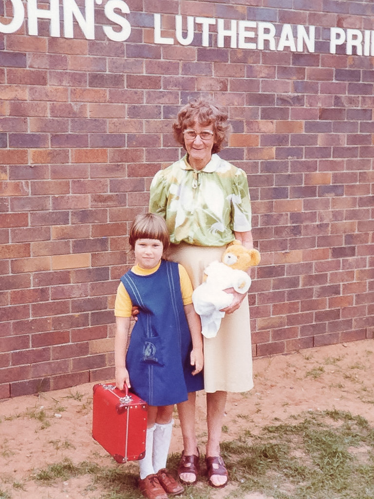 Grandma with me when I first started school. Photo source: Salecich Family archives.