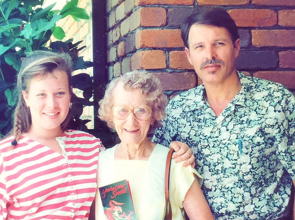 My Dad and I with Grandma on her 76th birthday (I was in Year 11 at the time). Photo source: Salecich Family archives.