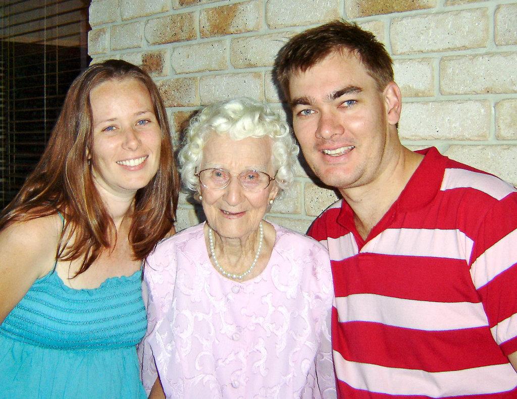 My husband and I with Grandma on her 90th birthday. Photo source: Judith Salecich 2006.
