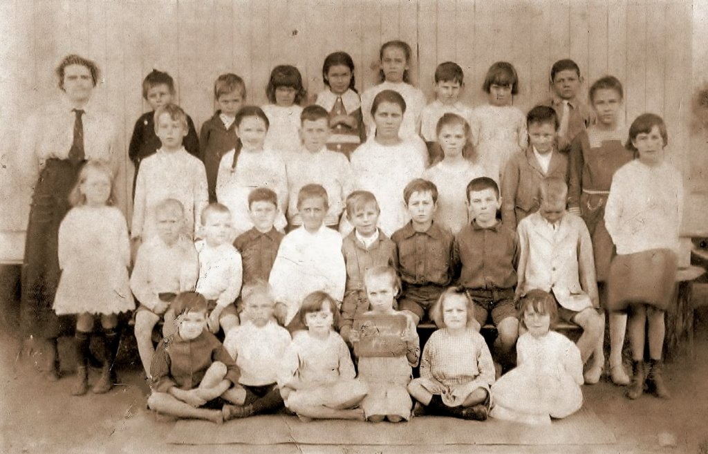 Grandma is the one holding the slate, Rannes State School, early 1920s. Photo source: Beaumont Family archives.