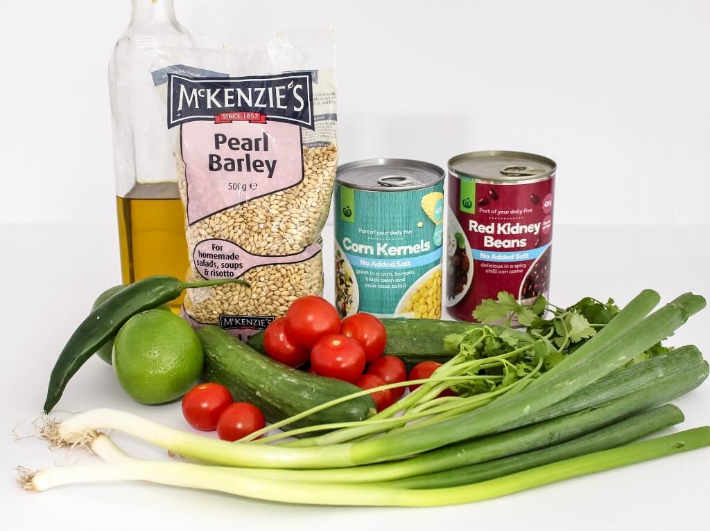 Pearl Barley Salad ingredients. Photo source: Judith Salecich 2017.