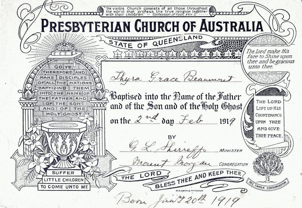 1919. Thyra Grace Beaumont's Baptismal Certificate.